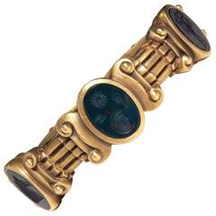 Barry Kieselstein Cord Carnelian Intaglio Gold Bracelet