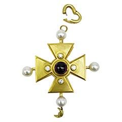 Barry Kieselstein Cord Celtic Cross Pendant 18 Karat Gold Amethyst Ruby Pearls