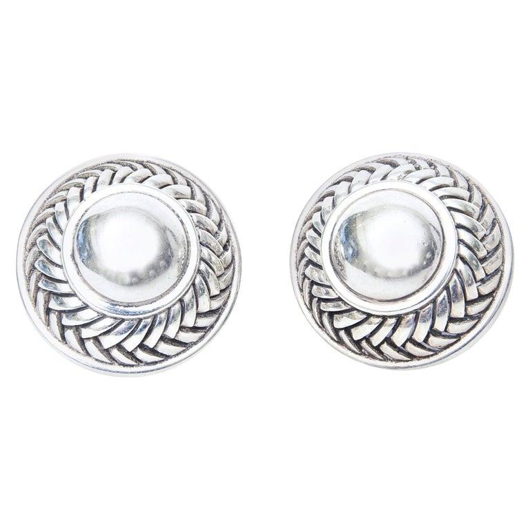 Barry Kieselstein-Cord Cord Sterling Silver Pierced Lever Back Earrings  For Sale