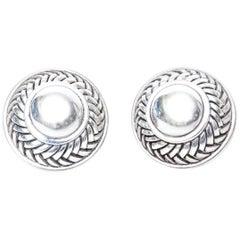 Barry Kieselstein-Cord Cord Sterling Silver Pierced Lever Back Earrings