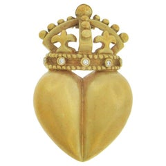 Barry Kieselstein-Cord Crowned Heart Pin/Pendant