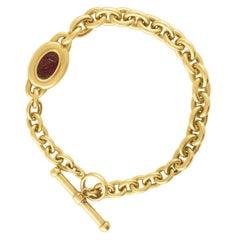 Barry Kieselstein-Cord Garnet Intaglio Chain Link Gold Bracelet