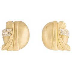 Barry Kieselstein-Cord Gold and Diamond Deco Earrings
