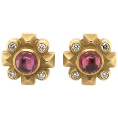 Barry Kieselstein Cord Gold, Garnet and Diamond Earrings