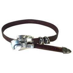 Barry Kieselstein Cord Large Eagle Head Sterling Alligator Belt
