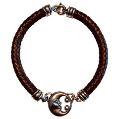 Barry Kieselstein-Cord Man in the Moon Sterling and Braided Leather Necklace