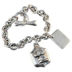 Barry Kieselstein Cord Signed Retriever Dog Tag Charm Sterling Silver Bracelet