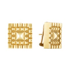 Barry Kieselstein-Cord Square Pyramid Textured Gold Earrings, 1984