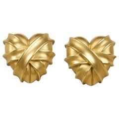 Barry Kieselstein-Cord Wrapped Heart Earrings 18 Karat Gold