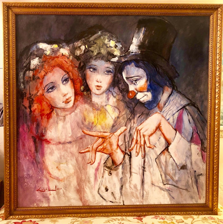 Large Vibrant Clown with Maidens Expressionist Oil Painting Barry Leighton Jones - Brown Portrait Painting by Barry Leighton-Jones