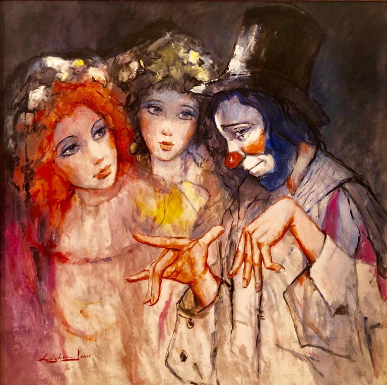 Barry Leighton-Jones Portrait Painting - Large Vibrant Clown with Maidens Expressionist Oil Painting Barry Leighton Jones