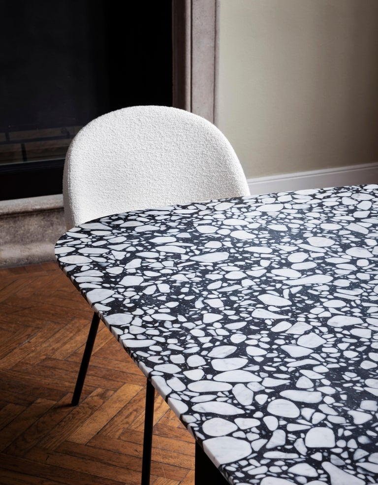 Marble Barry Medium Table in Palladio Moro Top with Black Lacquered Base by Alain  For Sale
