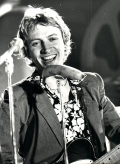 Andy Summers of The Police Smiling on Stage Vintage Original Photograph