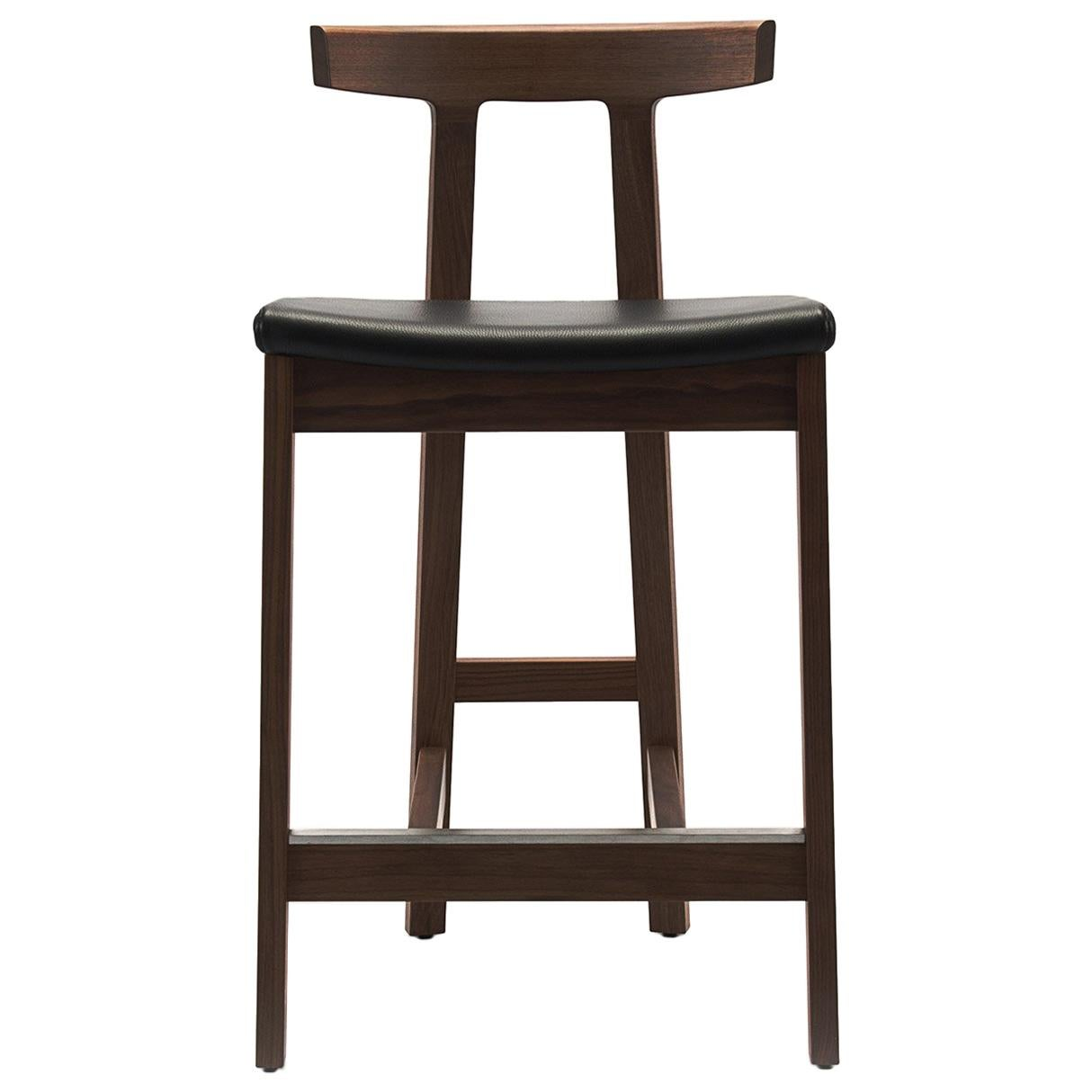 Surprising Gavilan Barstool Nickel With Walnut Details And Chocolate Brown Leather Andrewgaddart Wooden Chair Designs For Living Room Andrewgaddartcom