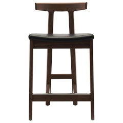 Barstool with Black Leather Seat and Walnut Frame, Bensen