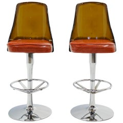 Barstools, Acrylic, Chrome, & Orange Vinyl, Heavy Duty Construction Swivel, Pair