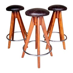 Barstools Art Deco Style Wood, Chrome and Leather