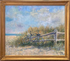 Biking Along the Beach, original 20x24 impressionist marine landscape