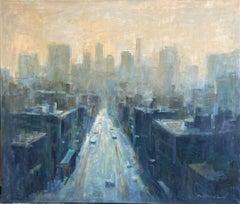 Dusk, original 32x38 abstract expressionist cityscape landscape