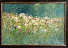 Field of Flowers, original 24x36 contemporary impressionist landscape