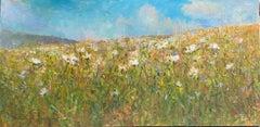 Flowering Fields, original 36x72 contemporary floral landscape
