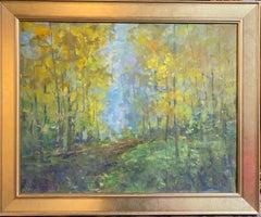Morning Walk in the Woods, original  impressionist landscape