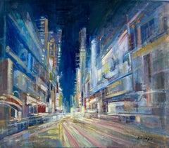 Night Rhapsody, original 38x42 abstract expressionist city landscape