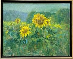 Sunflowers, original 24x30 contemporary impressionist landscape