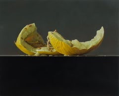 Honeydew Melo- 21st Century Still-life  painting of a yellow Melon