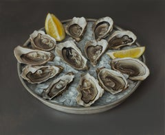 Oysters - 21st Century Still-life painting of a plate with Oysters , Ice & Lemon