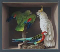 Three birds - 21st Century Still-life painting of a box with three stuffed birds