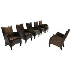 Bart Van Bekhoven Armchairs in Brown Grey Patina Sheep Leather