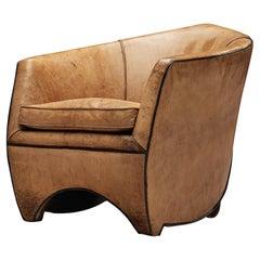 Bart van Bekhoven 'Concoon' Lounge Chair in Cognac Leather