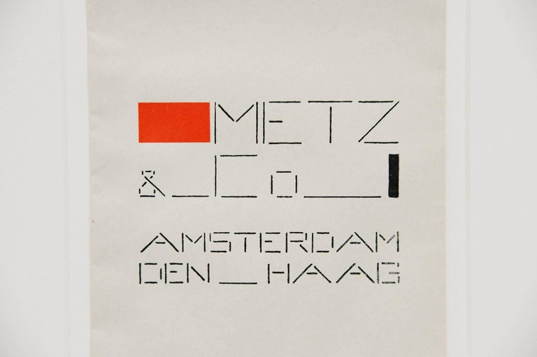 Mid-20th Century Bart van der Leck Packaging Bag Metz & Co Holland, 1935 For Sale
