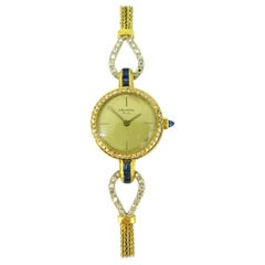 Barthelay Lady Diamonds Sapphires Yellow Gold Manual Wind Wristwatch