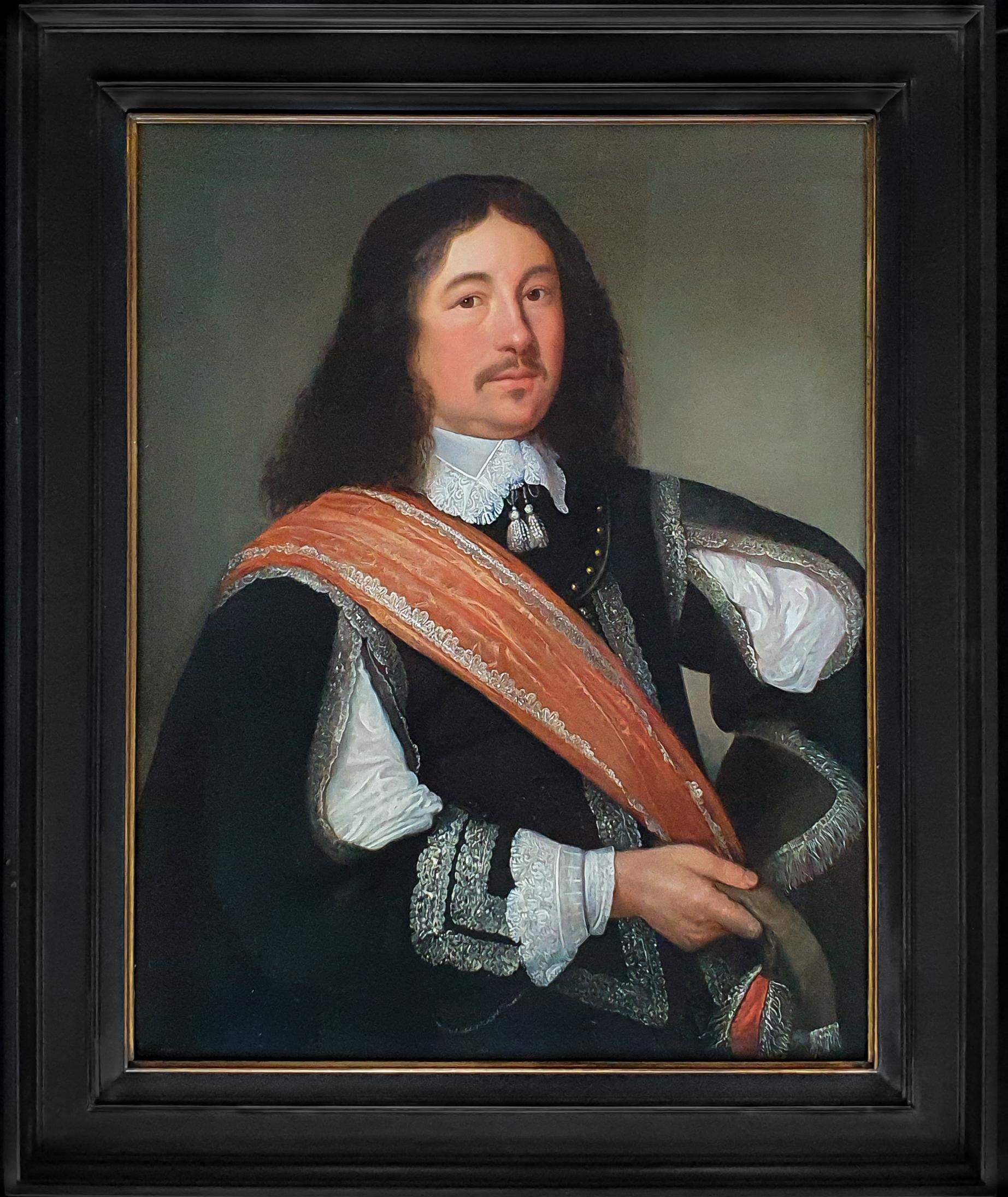 Portrait of a Gentleman with a Black Slashed Doublet and Orange Sash c.1650