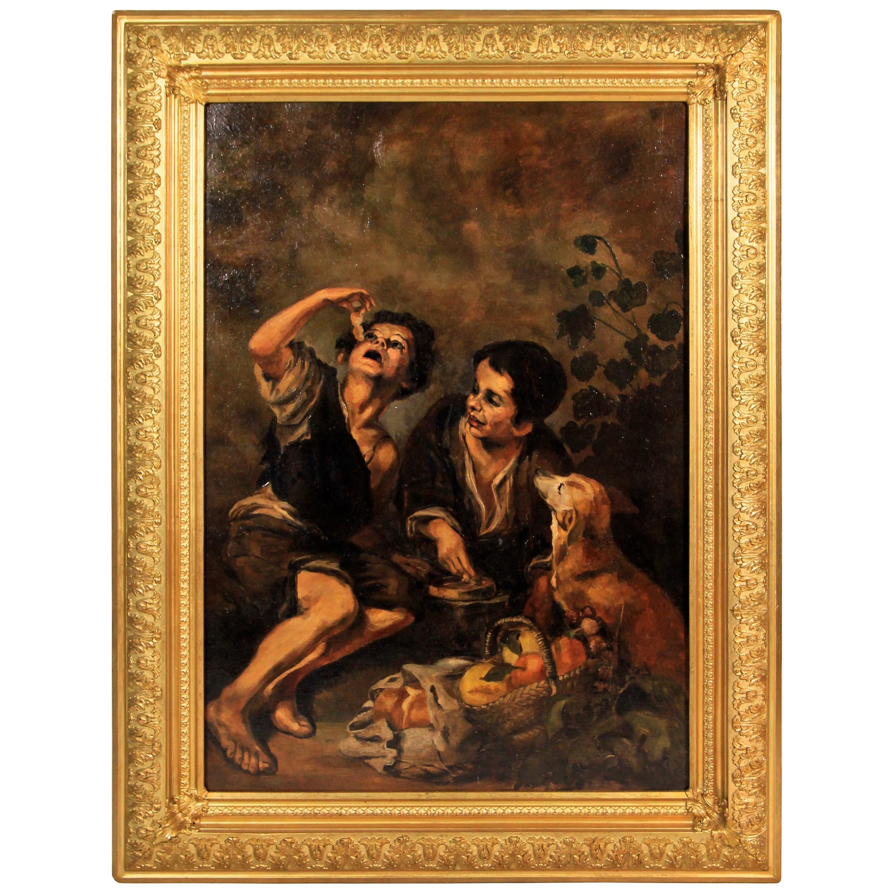 """Bartolome Esteban Murillo's """"Kuchenesser"""" Oil on Canvas Reproduction, circa 1890"""