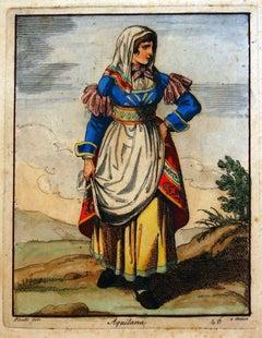 Aquilana (Costume of L'Aquila) - Etching by Bartolomeo Pinelli - 1819