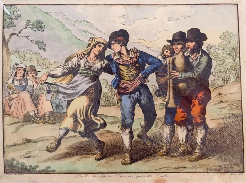 Ballo di Sposi Ciociari - Etching by Bartolomeo Pinelli - 1820