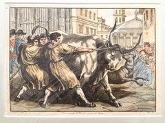 Bove Condotto al Macello - Etching by Bartolomeo Pinelli - 1819