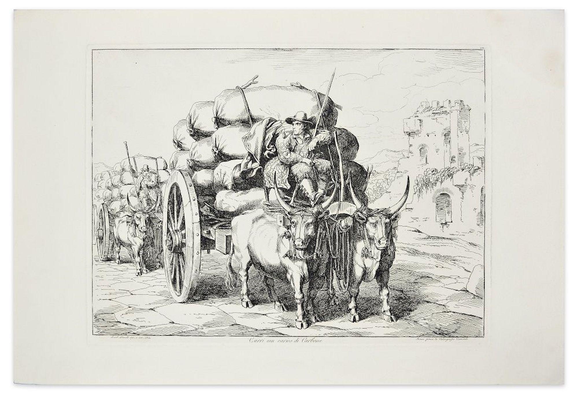 Carri con carico di Carbone - Original Etching by Bartolomeo Pinelli - 1831