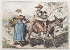 Costume of Civita Castella  - Original Etching by Bartolomeo Pinelli - 1819