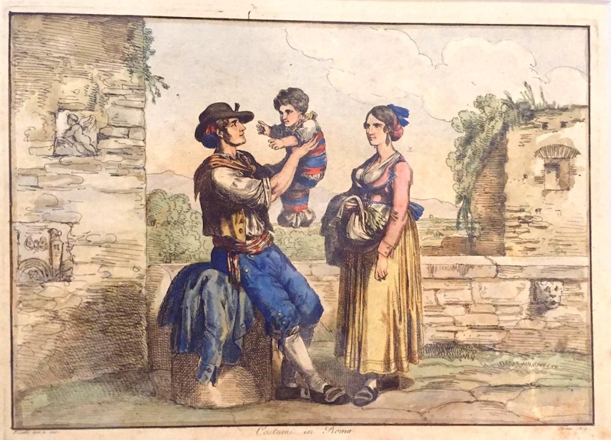 Costumi di Roma - Etching by Bartolomeo Pinelli - 1819