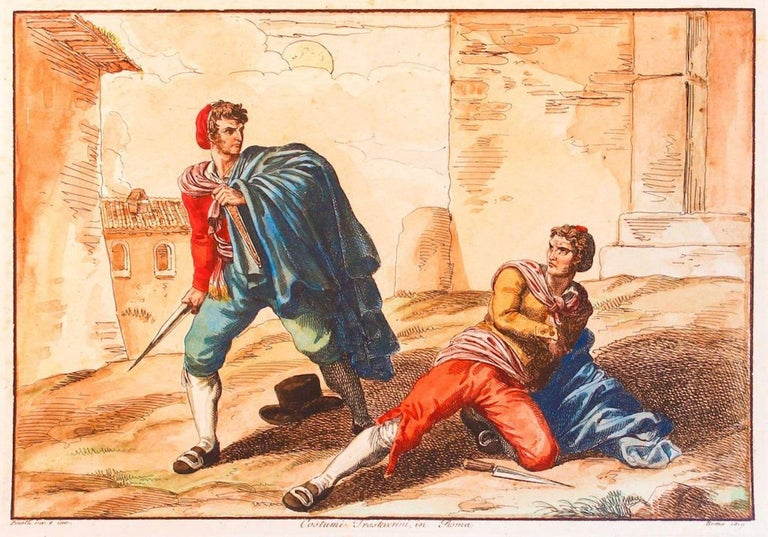 """Hand-watercolored Etching, 1819,  Image Dim: cm 28 x 20, Dim: cm  29x41.  Etching and Watercolor technique. In Good condition. Signed and dated on plate lower margin """"Pinelli dis. e inc.; Roma, 1819"""".  Bartolomeo Pinelli illustrated the greatest"""