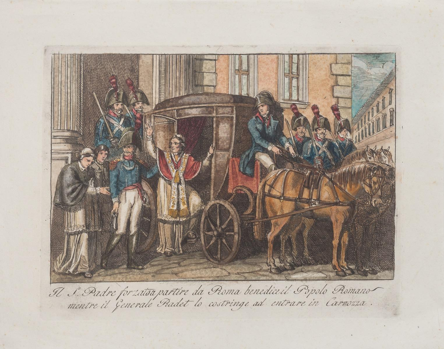 Departure of the Holy Father from Rome - Etching by Bartolomeo Pinelli - 1850