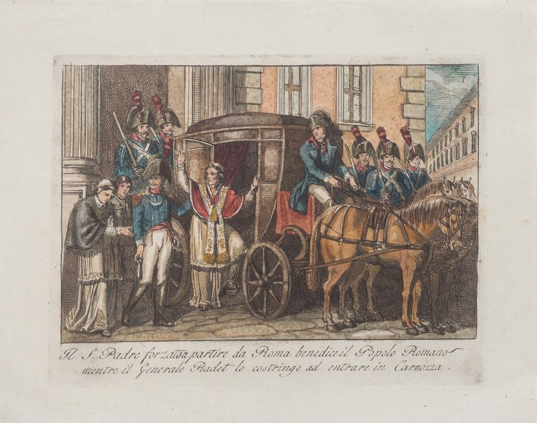 Departure - Il Padre Forzato a Partire Da Roma - is an original Hand-colored etching artwork realized by Italian artist Bartolomeo Pinelli in 1850.  With the description of artwork on the lower in Italian.  Very good conditions.  Enchanting Italian