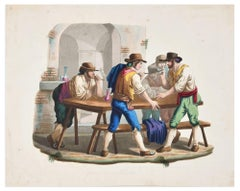 Gioco di Morra - Etching a Watercolor by Bartolomeo Pinelli - 19th Century