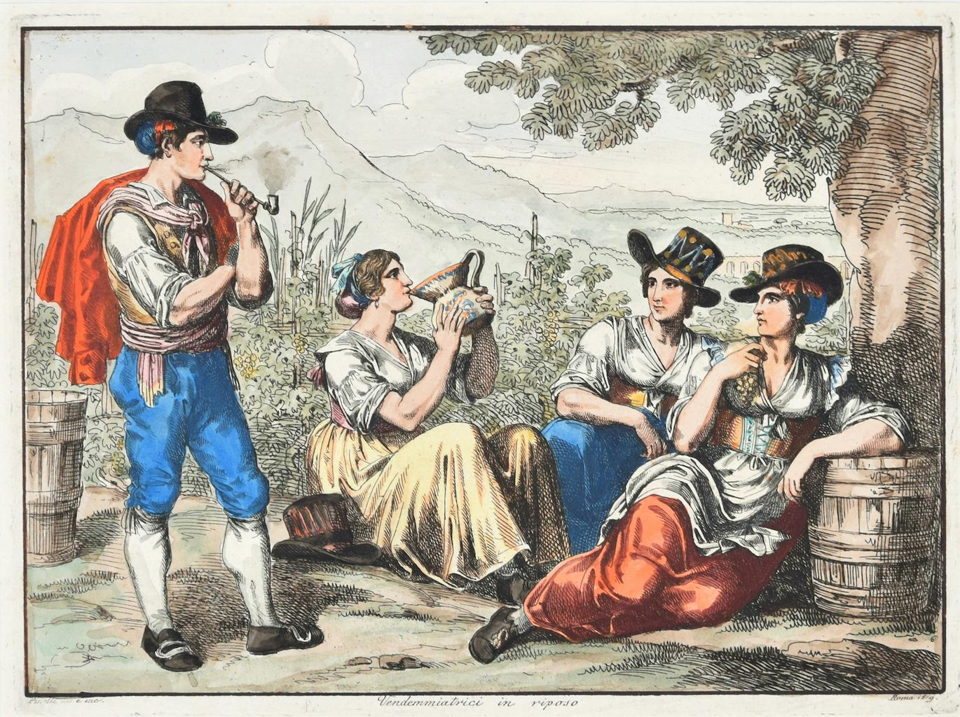 Grape Harvesters at Rest - Original Etching by Bartolomeo Pinelli - 1819