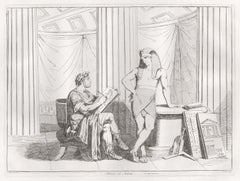 Hadrian and Antinous, antique Italian Roman etching by Bartolomeo Pinelli