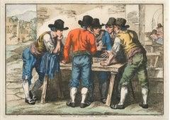 Monticiani Giocano a Zecchinetta - Original Etching by Bartolomeo Pinelli